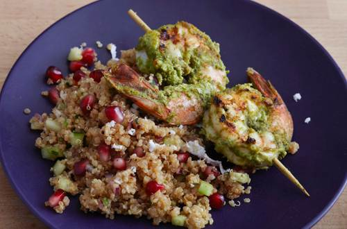 Haryali Shrimp Kebab on Quinoa Pomegranate Chaat