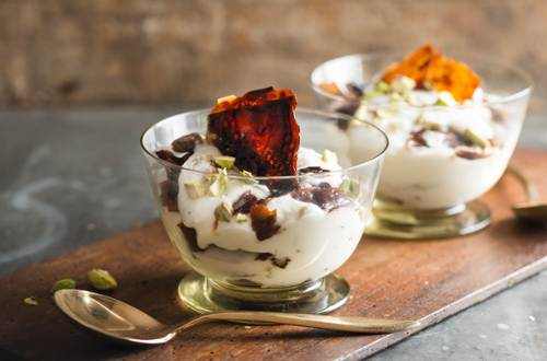 Candied Celery Parfait with Pomegranate Crisp