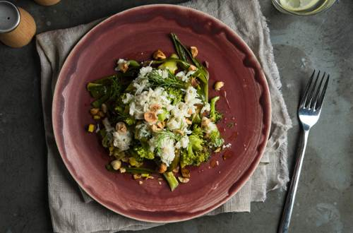 Charred Vegetable Salad with Crab and Hazelnuts