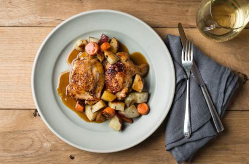 Chicken Thighs Braised in Fennel Caramel with Winter Vegetables