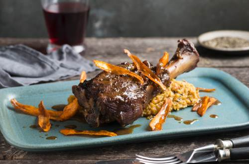 Lamb Shanks with Moroccan-Spiced Winter Vegetables and Chickpea Mash